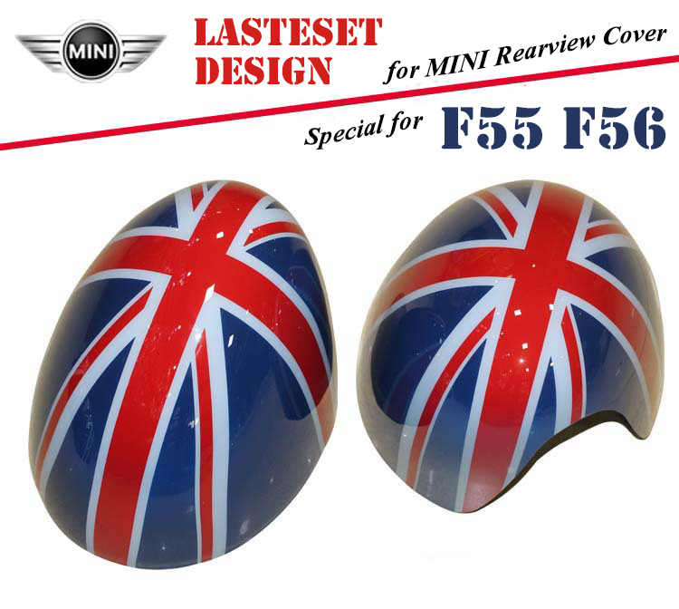 2pcs Good Quality Fit for 2014 BMW MINI F55 MINI One F56 External Exterior Rearview Mirror PC Cover Shell Union Red Jack Flag mini cooper f56 2014 exterior mirror caps vivid green covers