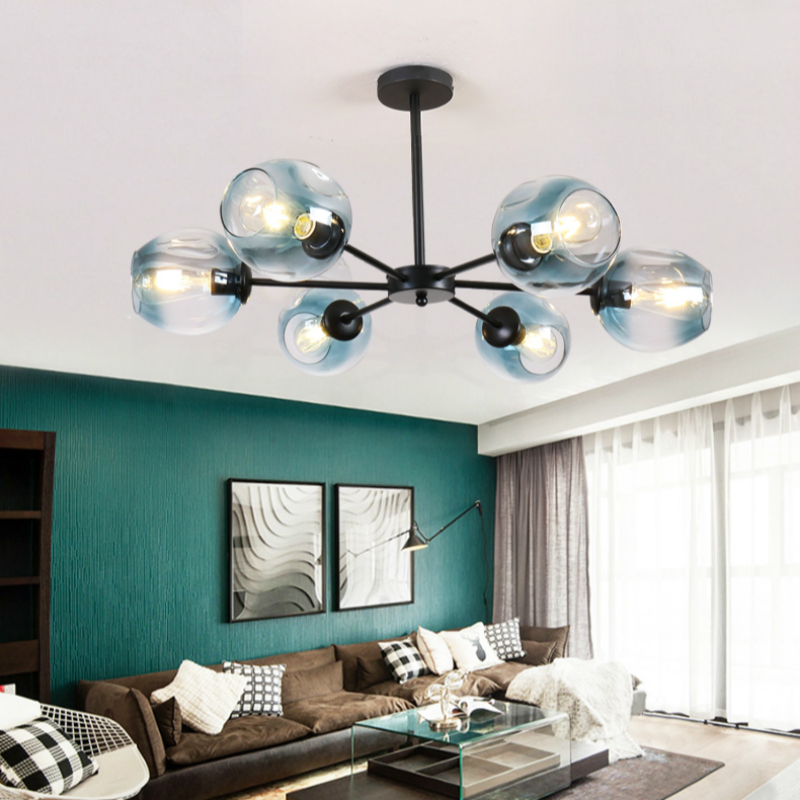 Nordic lighting magic bean Ceiling Lights postmodern personality shaped living room lamp simple creative wrought iron restaurant in Ceiling Lights from Lights Lighting