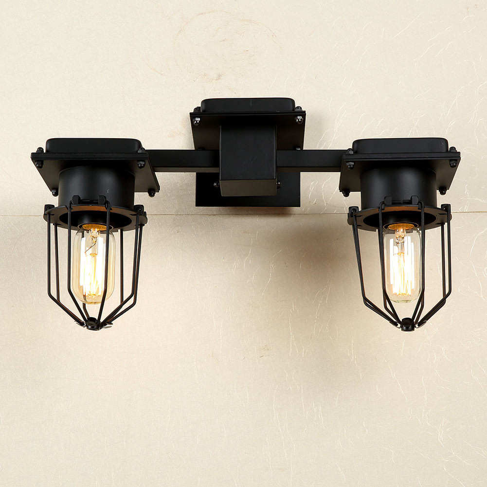 Double Heads Lamps Diamond Shape Iron Cage Wall Lamp Indoor Lighting Bedside Lamps Home light Wall Lights Sconces E27 Fixtures american vintage 2 heads wall lamp indoor lighting bedside lamps double wall lights for home 110v 220v e27