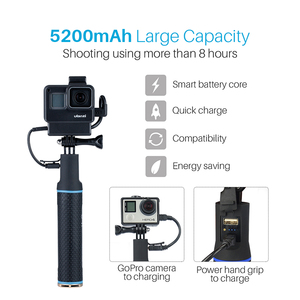 Image 4 - Hand Grip Battery For Gopro Hero 7 6 5 5200mAh Battery Charger Power Bank Grip Handheld Monopod Selfie Stick for Action Camera