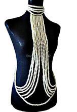 Mode Femmes Couches Imitation Perles Perles Collier Corps Chaînes Bijoux Plus Couleurs Perles Bijoux WRPE45