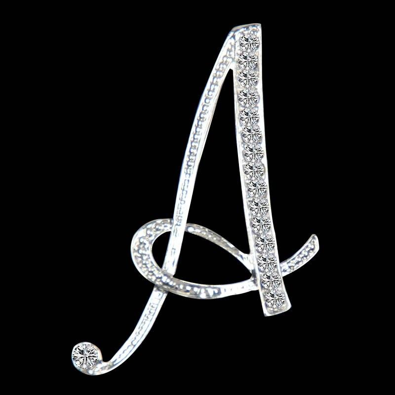 Shuangr novo strass broches de cristal carta inicial broche A-S lapela pinos e broches clip nome jóias para o casamento