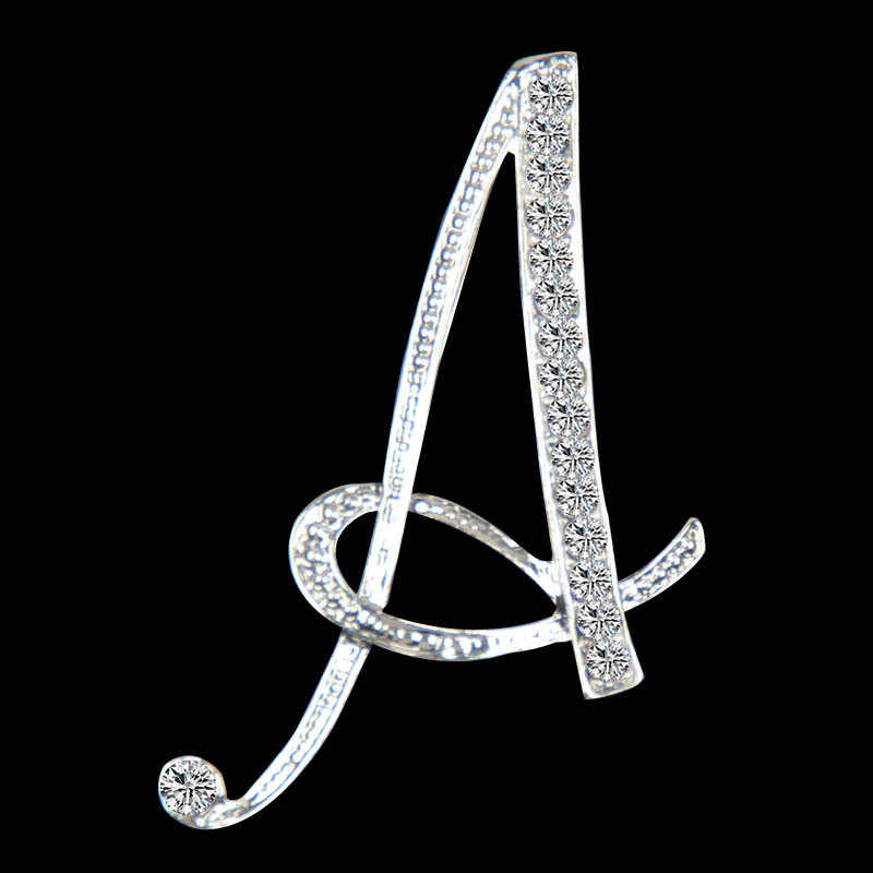 7c860ab51 SHUANGR New Rhinestone Crystal Broches Initial Letter Brooch A-S lapel Pins  and Brooches Clip Name Jewelry
