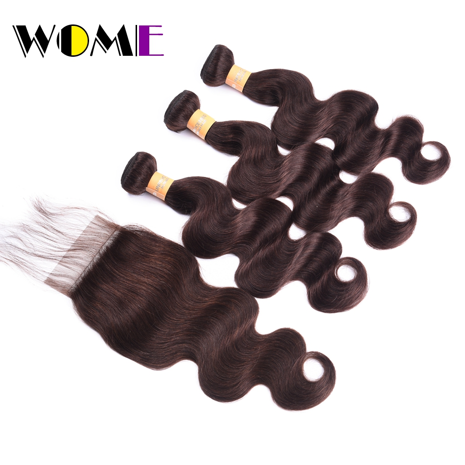 WOME Pre-colored Brazilian Body Wave Bundles With Closure 2# Color Non Remy Cheap Hair Body Wave Bundles With Closure