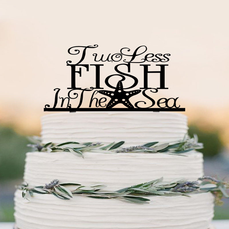 Two Less Fish in The Sea Wedding Cake Topper, starfish cake topper ...