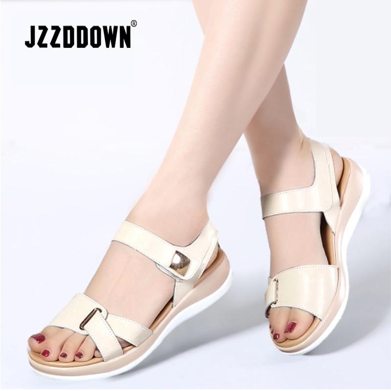 Women sandals shoes Genuine Leather ladies 2018 summer Beach Sandals Flat Casual Flip Flop white gladiator shoe Fashion footwear
