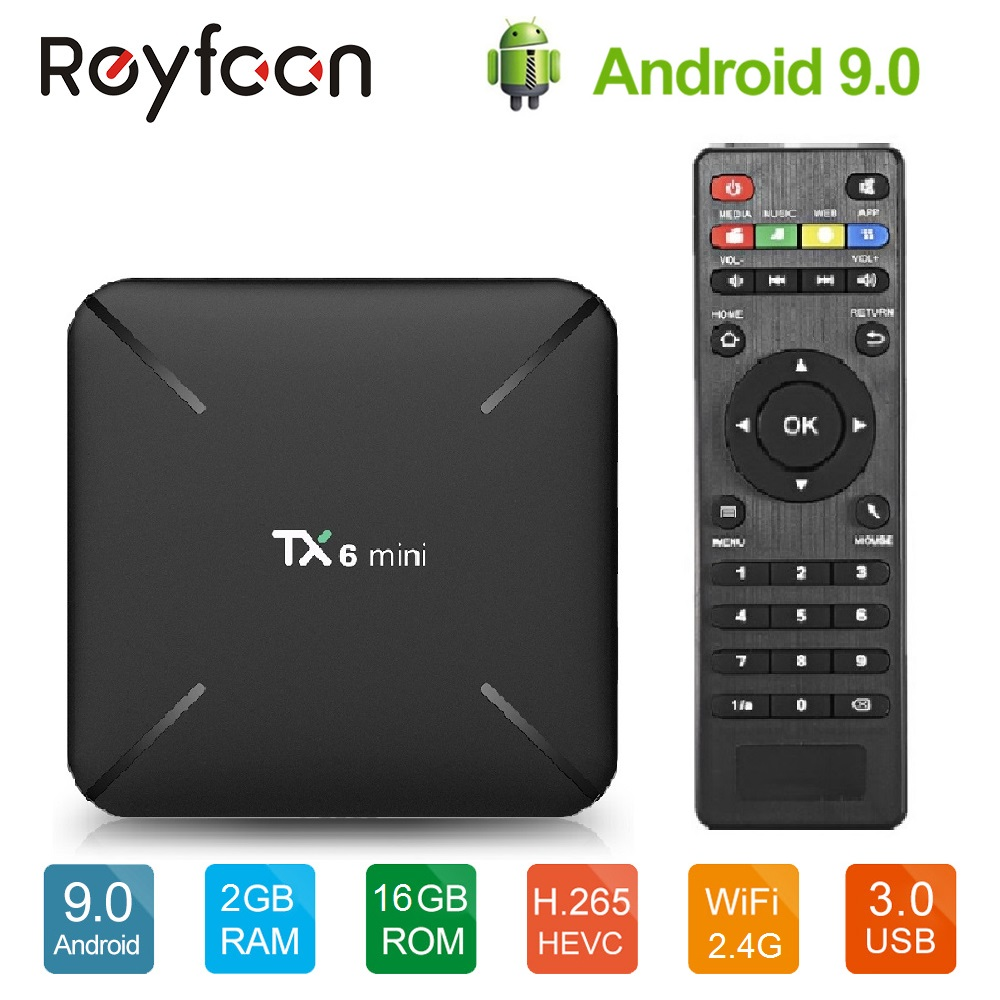Android TV Box 9.0 TX6 Mini Allwinner H6 Dual Wifi BT4.2 2GB 16GB ALICE UX USD3.0 HDR 4K Support Google Player Youtube NetflixAndroid TV Box 9.0 TX6 Mini Allwinner H6 Dual Wifi BT4.2 2GB 16GB ALICE UX USD3.0 HDR 4K Support Google Player Youtube Netflix
