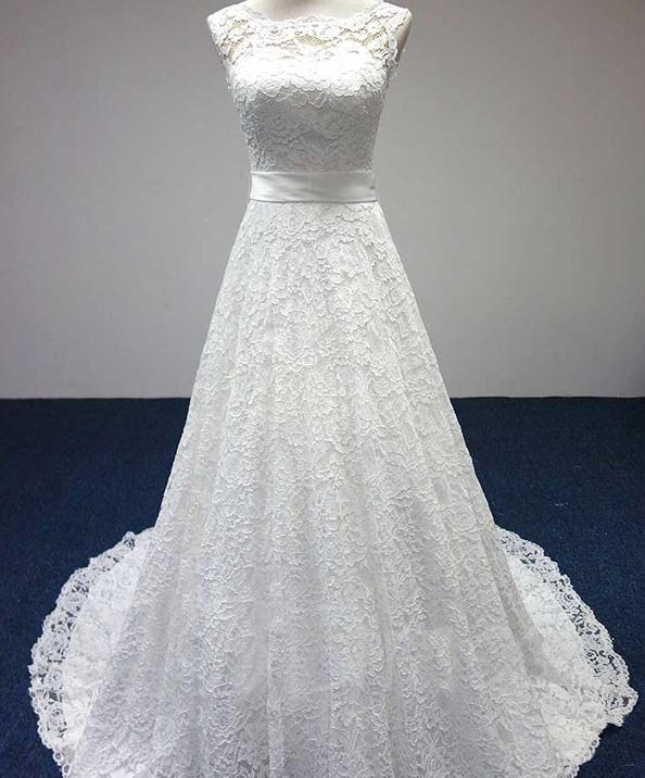 BANVASAC 2017 Nový řádek Elegantní vyšívací člun Neck - Svatební šaty - Fotografie 4