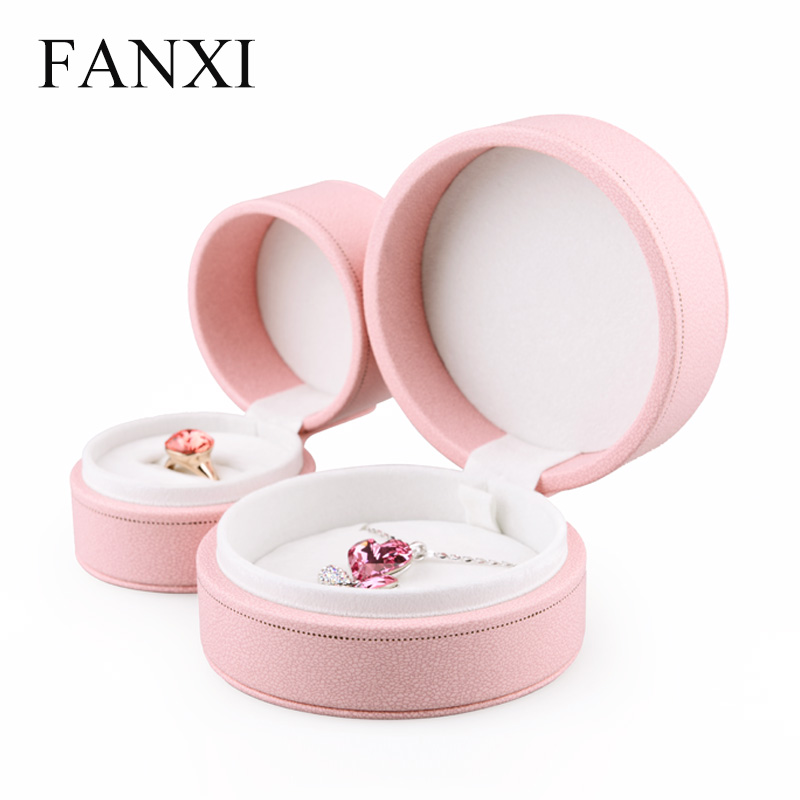 FANXI PU Leather Jewelry Gift Boxes Ring Necklace Pendant Display Box Organizer Exhibitor