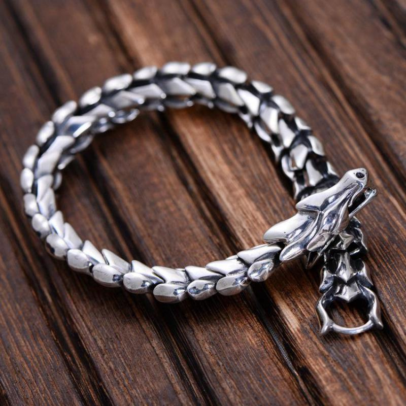 Genuine 925 Sterling Silver Jewelry Heavy Dragon Scale Bracelet For Men 23CM Vintage Punk Style