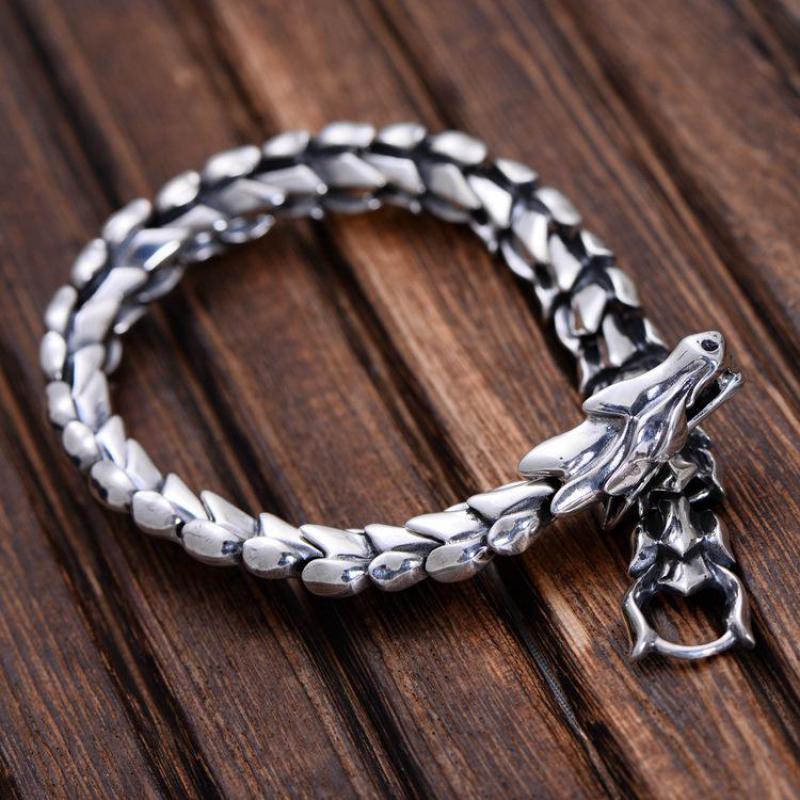 Véritable 925 bijoux en argent Sterling lourd Bracelet échelle de Dragon pour hommes 23 CM Style Punk Vintage-in Bracelets ficelle et chaîne from Bijoux et Accessoires    1
