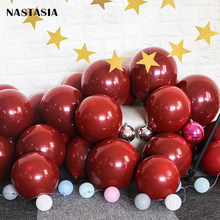 NASTASIA Ruby red latex balloon 10inch 50P(25sets) double-deck birthday wedding favors  gifts festa infantil party supplies