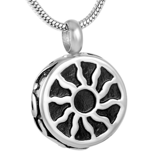 IJD8854 Stainless Steel Sun Round Shape Cremation Urn Necklace