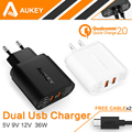 AUKEY 36W 2 Port USB Wall Charger Compatible with Qualcomm Quick Charge 2.0 & AiPower Technology; for Galaxy S6 Edge Plus,