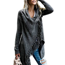 2019 autumn and winter womens large size sweater tassel long shawl coat