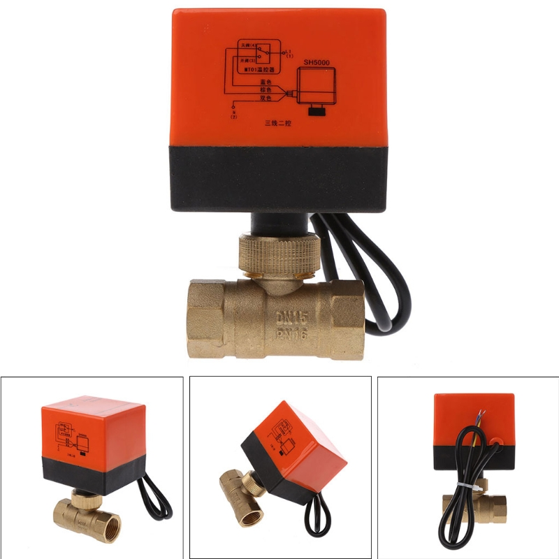 Electric Motorized Brass Ball Valve DN15 AC 220V 2 Way 3-Wire With Actuator