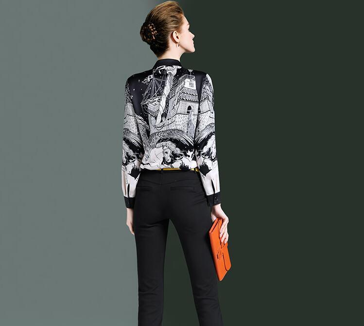 Haute qualité! Marque originale femme printemps décontracté blanc noir imprimé chemise femme manches longues OL chemise chic blouse hauts TB719 - 2