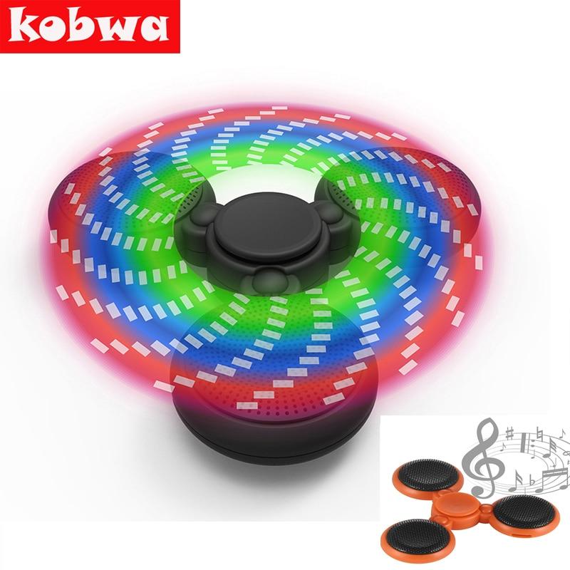 LED Light Fidget Spinner ABS Finger Spinner with Bluetooth Speaker Hand Spinner Toy For Children Autism