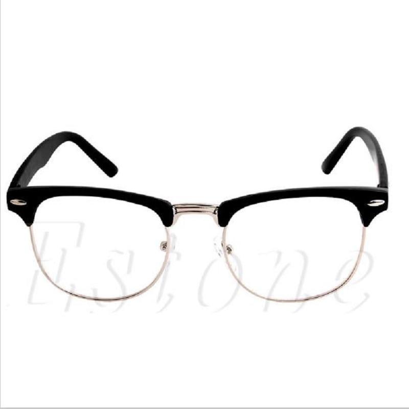 Gafas con media montura de Metal a la moda, montura Retro para hombre y mujer, protección UV de cristal para leer, marco de lente de la computadora 1 unidad