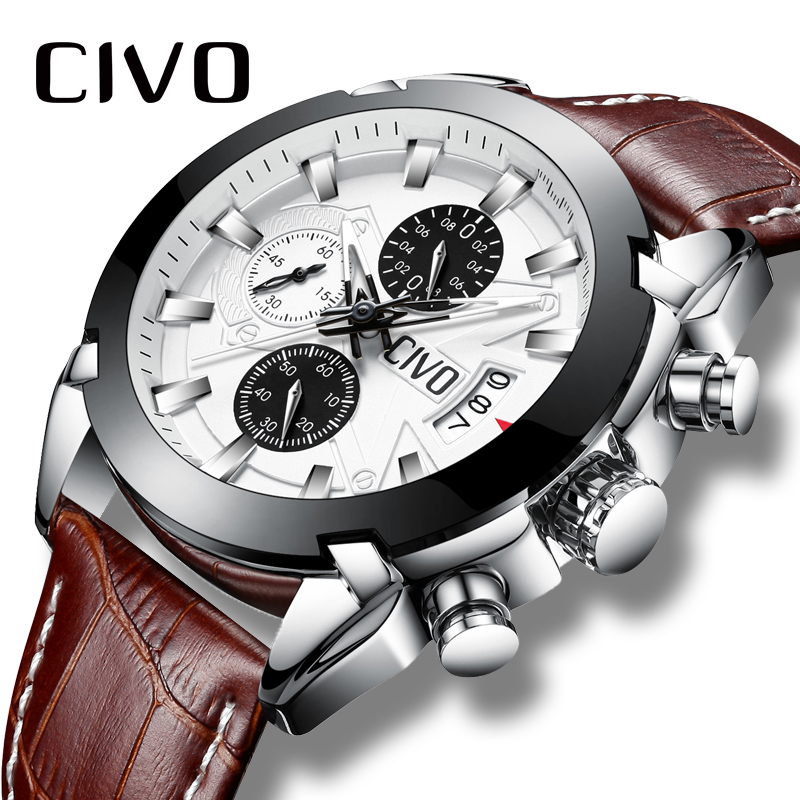 CIVO Men's Watch Waterproof Date Calendar Fashion Quartz Wrist Watch For Men Teenager Boys Chronograph Leather Sport Watches Men fashion casual watch men civo waterproof date calendar analogue quartz men wrist watch brown genuine leather watch for men clock