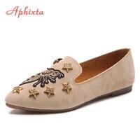 Aphixta Loafers Flat Shoes Women Flat Flock Spring Autumn Metal Decoration Sapato Feminino Cow Suede Slip