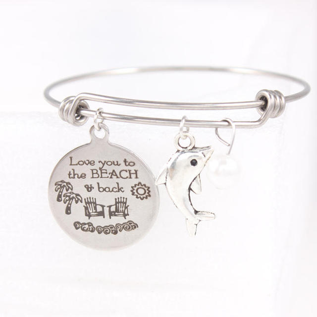 stainless steel wire bangle love you to the beach back charm bracelet jewelry for women