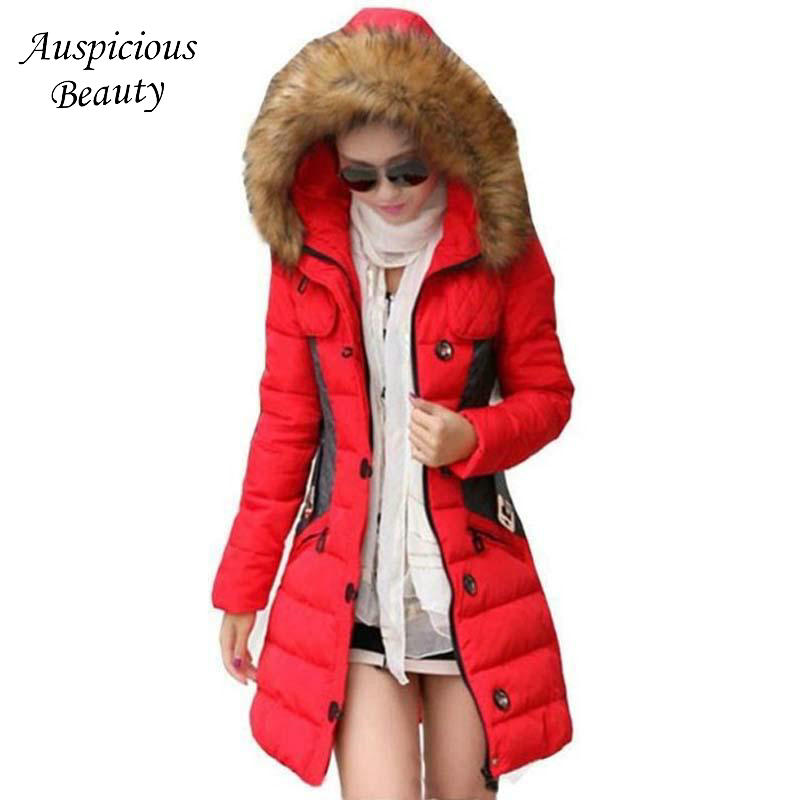 2017 Women's Down Jacket Winter Jacket Female Parka Fur Collar Thickening Cotton Padded Winter Coat Manteau Femme Clothes CXM128