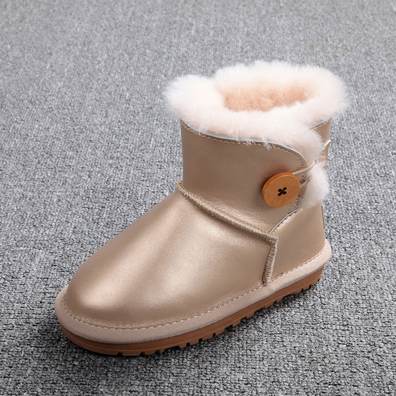New Fashion Natural Fur Snow Boots Boys Kids Warm Winter Shoes 100% Genuine Cowhide Leather Waterpoof Snow Boots for Girls children snow boots kids boys girls cowhide boots fashion baby winter cow leather boots warm shoes 2017 free drop ship wholesale