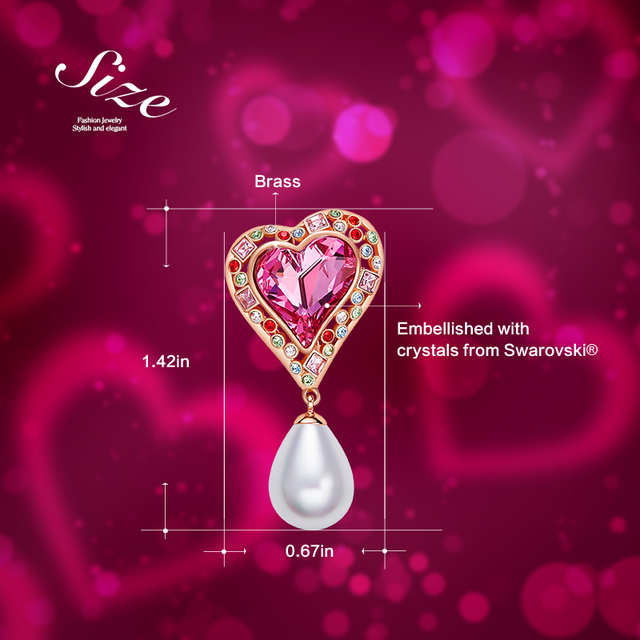 Cdyle Pearl Earrings Heart Jewellery Embellished 3