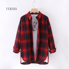 FEKEHA Autumn Winter Plaid Blouses For Women Casual Cotton Checkered Shirts Loose Plaid Outerwear Big Size Tops Red Black