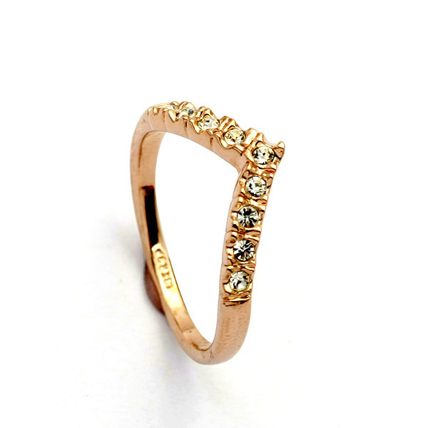 Rose Gold Heart Shape Loop Rings for Women Carved Pattern Inlaid