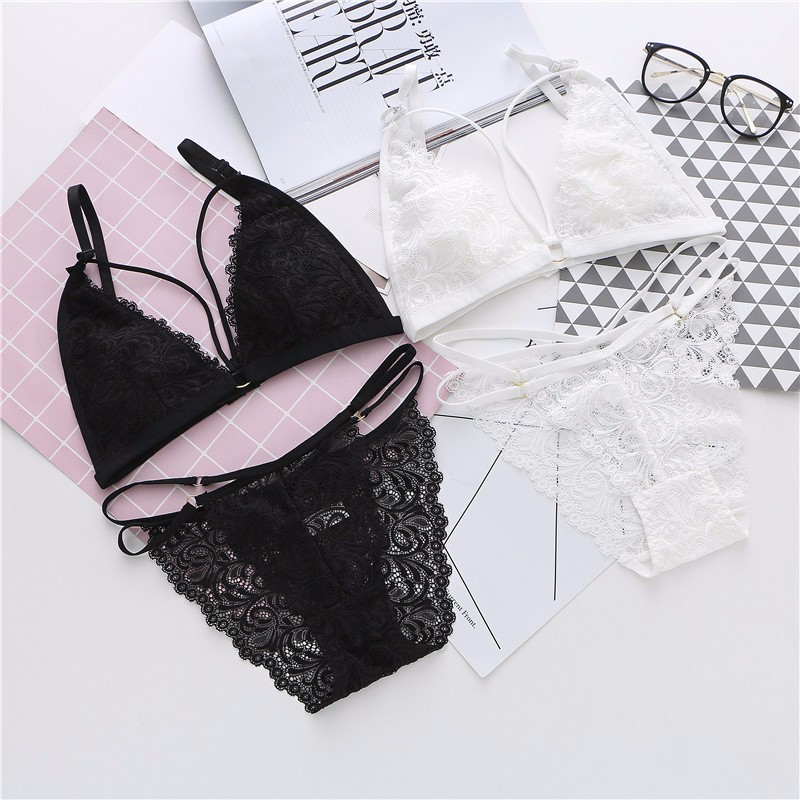 c9cd6b1d530d0 Deruilady Hot Sexy Seamless Bra Set Ultra-thin Hollow Out Lace Bra Panties  Set Wire Free Sexy Lingerie Floral Lace Bra Brief Set