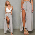 Mulheres Summer Fashion Bohemian Sólidos Casual Sexy Bandage Fenda Saia Longa