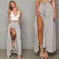 Women Summer Fashion Bohemian Solid Casual Sexy Bandage Slit Long Skirt