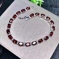 Natural vermelho garnet gema moda redonda pulseira natural pedra preciosa pulseira s925 prata pulseira menina feminino festa presente jóias