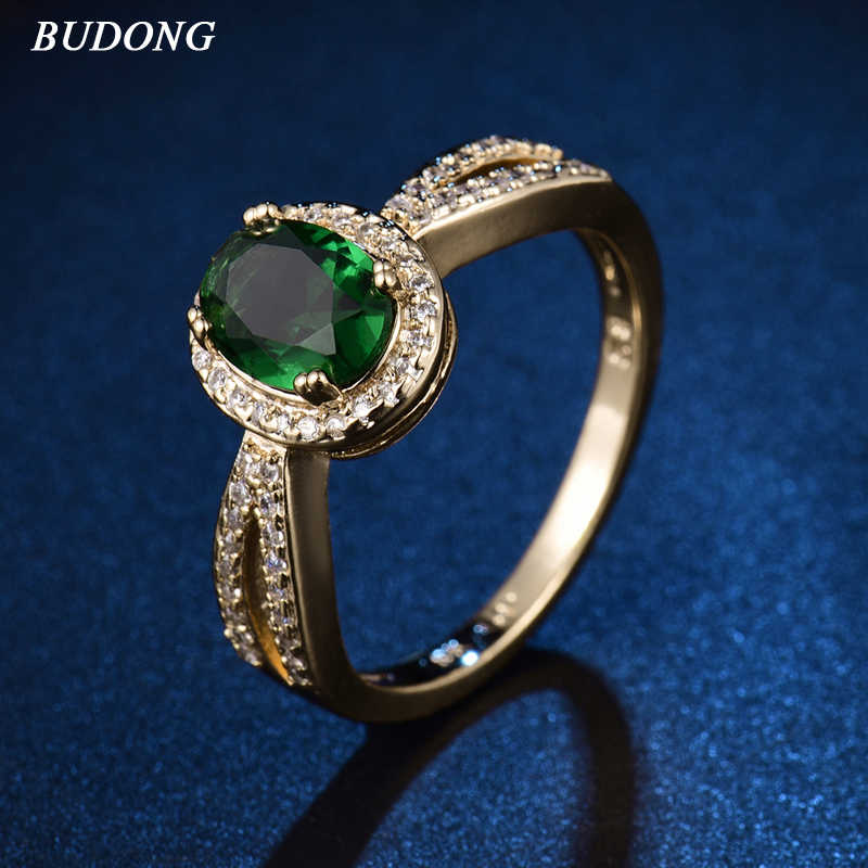 BUDONG 2017 Gorgeous Halo Ladies Finger Band  Gold Color  Ring for Women Oval Green Crystal Zirconia Engagement Jewelry XUR340