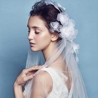 Bridal Veils 2016 New Hot In Stock short White Birdcage Net Wedding Bridal Fascinator Face Veils Flower with Wedding Accessories