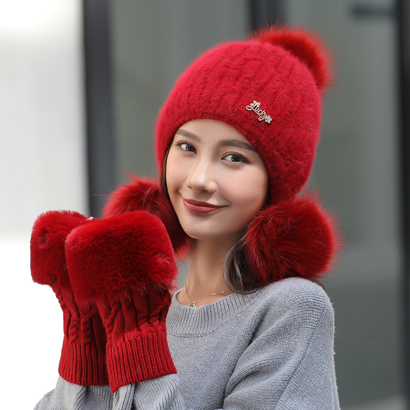 cc34176a6 Wool Ski Rabbit Fur Hats Knitting Faux Fox Fur Hat Pom Poms Hat Beanies  Skullies Winter Hat for Women Caps Thick with Fur Gloves