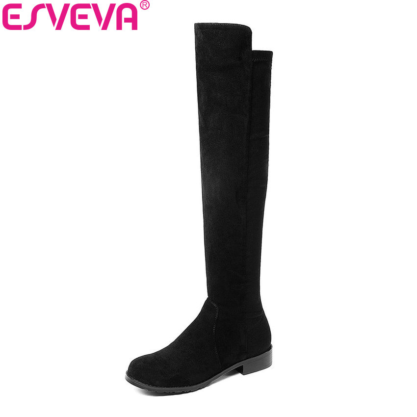 ESVEVA 2019 Women Boots Slip on Flock Over The Knee Boots Round Toe Square Low Heels Spring and Autumn Ladies Boots Size 34-43