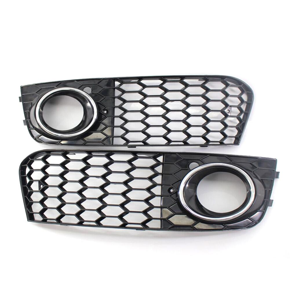 2PCS High Quality Chrome ABS Plastic Right Left Fog Light Lamp Cover Grille For Audi A4