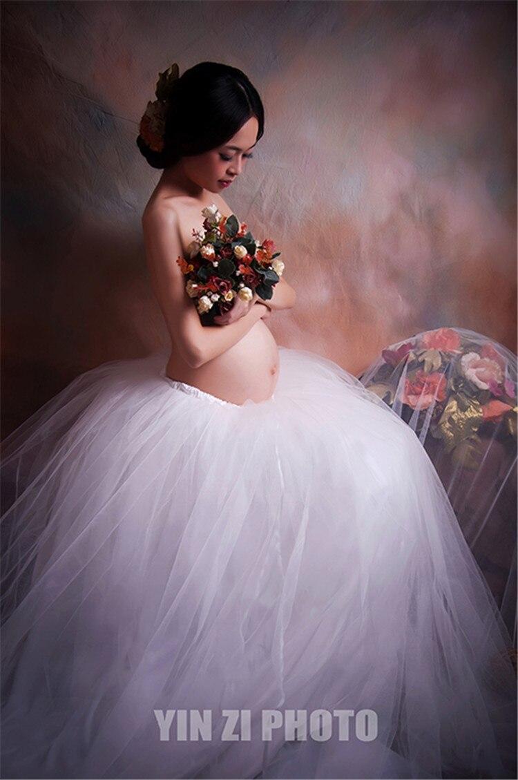 Maternity Pregnancy Elegant Fancy Gown White Lace Photography Props Royal Style Long Skirt Pregnant Women Photo Shoot Vestidos