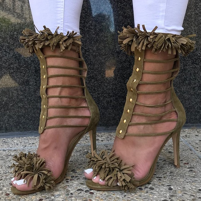 Chmaori 2018 Woman Fashion Tassel Embellished Stiletto High Heels Dress Party Shoes Lady Open Toe Suede Rivets Gladiator Sandals lace up cross strap lady rhinestone sandals suede woman thin heels crystal embellished lady sandals party dress high heels shoes