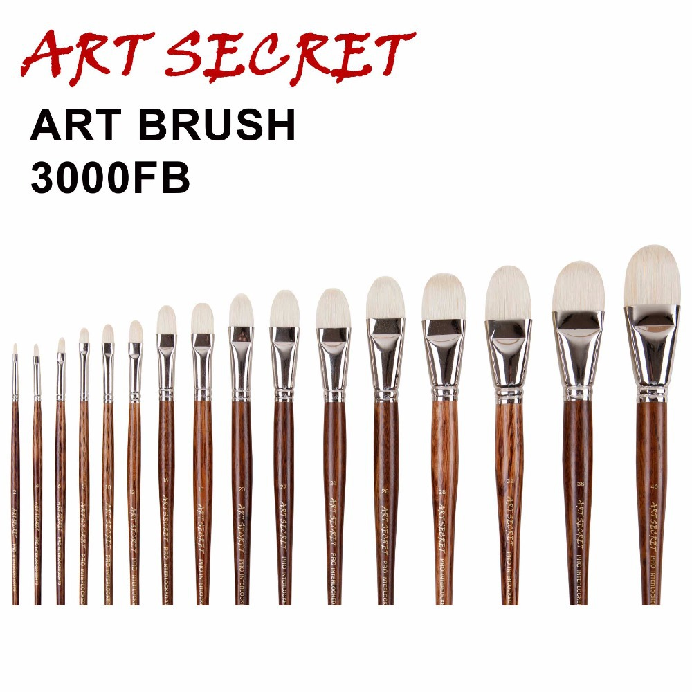 3000FB High Quality Chunqing White Bristle Long Oak Wood Handle Nickel Brass Ferrule Oil Paint Art Supplies Artist Brush