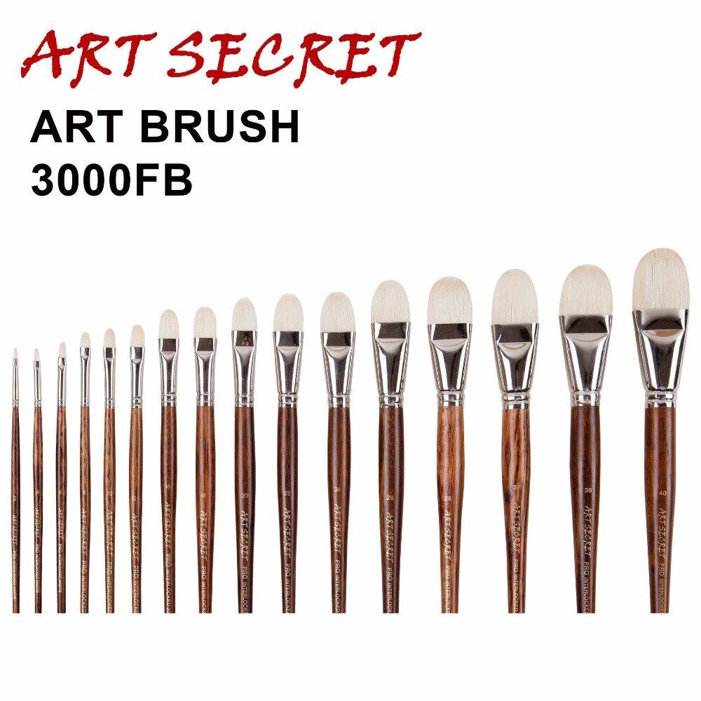 3000FB High Quality Chunqing White Bristle Long Oak Wood Handle Nickel Brass Ferrule Oil Paint Art Supplies Artist Brush