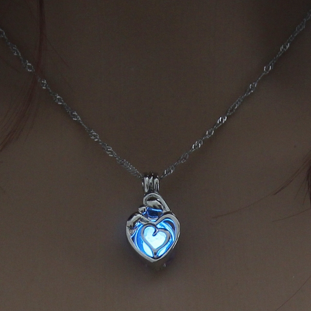 Glowing Heart Silver Necklace