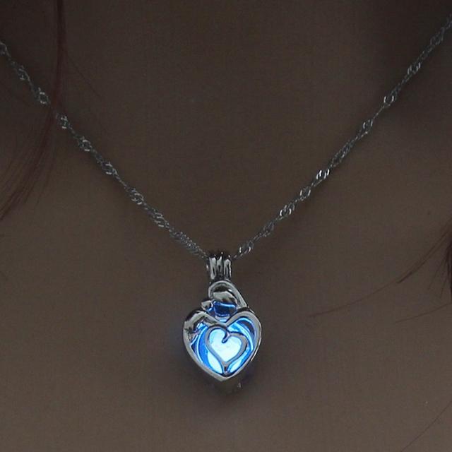 Heart Shape Glowing in the Dark Necklace