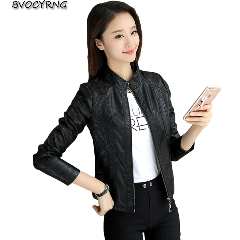 2018 New Women's Jacket European Fashion Leather Jacket PU Leather Coat Motorcycle Temale Women's Slim Short Tops A0635(China)