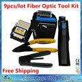 9 unids/lote herramienta de fibra óptica Kit con FC-6S fibra cortador y Visual Fault Locator 5 KM y fibra óptica Strippers