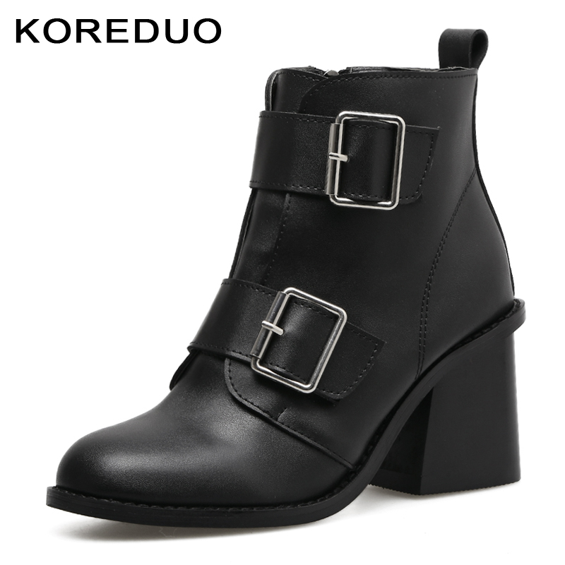 cb4f7117156d KOREDUO Spring Autum Women Buckle Ankle Boots Black High Heel Martin Boots  Zipper Combat Gothic Punk Motorcycle Boots Shoes mw