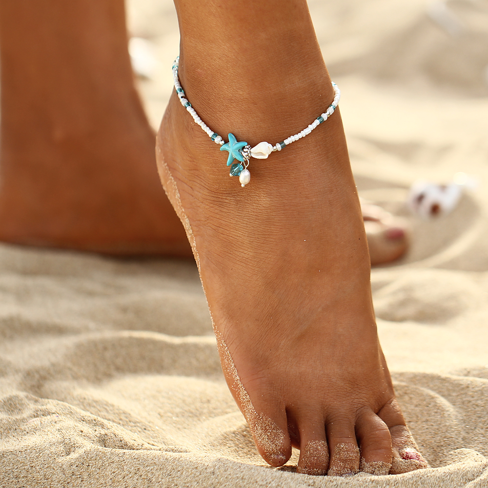 IF ME Fashion Bohemian Imitation pearls Starfish Charms Bracelets Anklets For Women Summer Foot Chain Shell Jewelry Gift 2